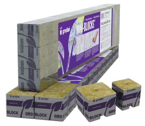 Grodan 2 in Starter Mini-Blocks MM50/40 2 in x 2 in x 2 in (2 Strips of 12 or 24 ct)