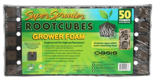 Super Sprouter / Oasis Rootcubes Grower Foam Plugs 50 ct Tray