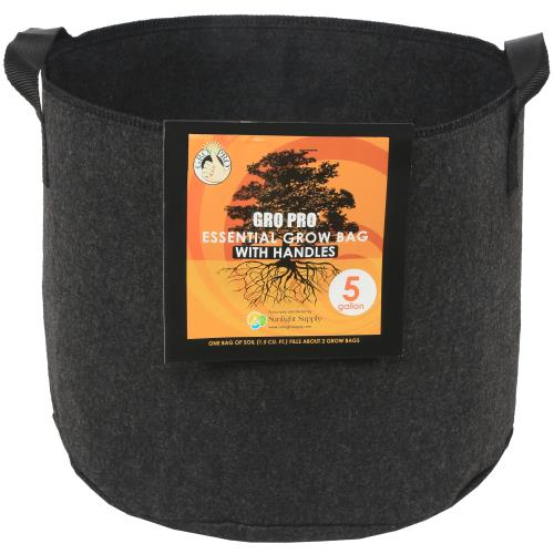 Gro Pro Essential Round Fabric Pot w/ Handles 5 Gallon - Black