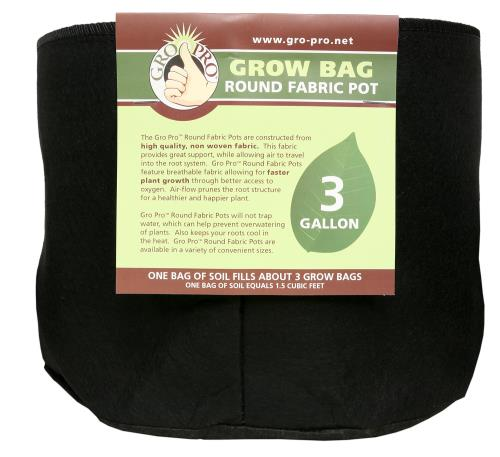 Gro Pro Round Grow Bag 3 Gallon