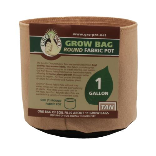 Gro Pro 1 Gallon Grow Bag Tan