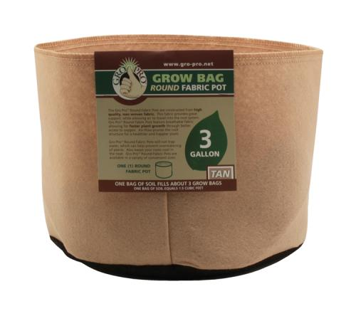 Gro Pro 3 Gallon Round Grow Bag-Tan