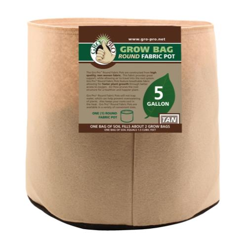 Gro Pro 5 Gallon Round Grow Bag-Tan