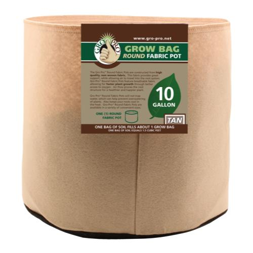 Gro Pro 10 Gallon Round Grow Bag-Tan