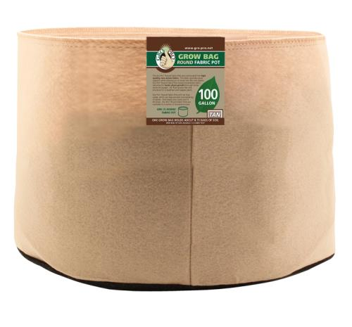 Gro Pro 100 Gallon Round Grow Bag-Tan