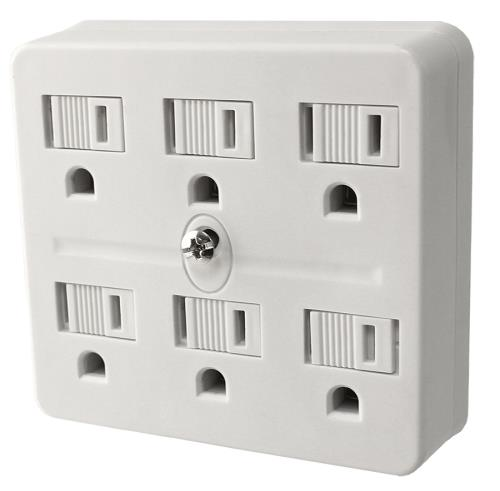 Power All 6 Outlet Grounded Adapter 125 Volt