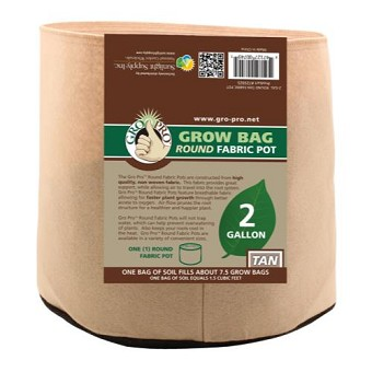 Gro Pro 2 Gallon Round Grow Bag-Tan
