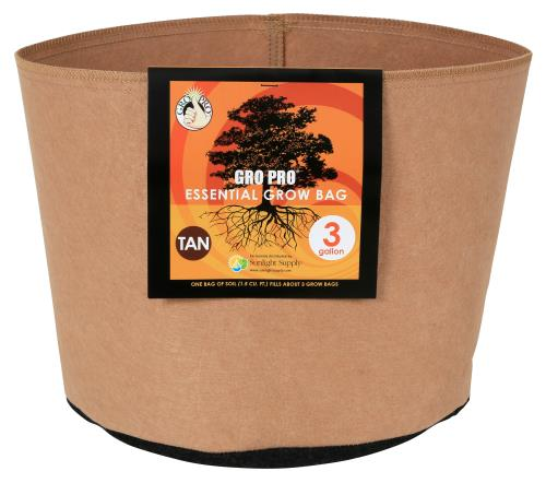 Gro Pro Essential Round Fabric Pot - Tan 3 Gallon   300/Case