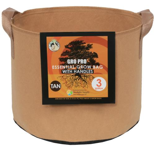 Gro Pro Essential Round Fabric Pot w/ Handles 3 Gallon - Tan   200/Case
