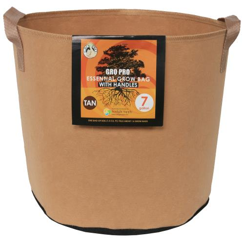 Gro Pro Essential Round Fabric Pot w/ Handles 7 Gallon - Tan   200/Case
