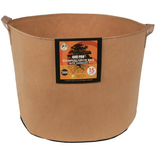 Gro Pro Essential Round Fabric Pot w/ Handles 15 Gallon - Tan   200/Case