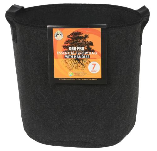 Gro Pro Essential Round Fabric Pot w/ Handles 7 Gallon - Black   1000/Case