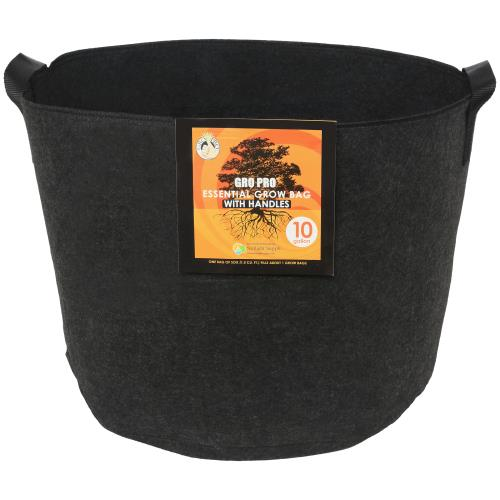 Gro Pro Essential Round Fabric Pot w/ Handles 10 Gallon - Black   500/Case