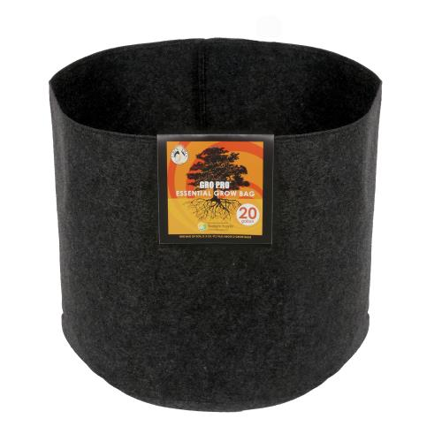 Gro Pro Essential Round Fabric Pot - Black 20 Gallon   100/Case