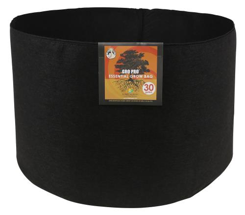 Gro Pro Essential Round Fabric Pot - Black 30 Gallon   100/Case