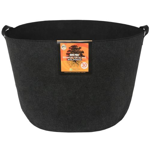 Gro Pro Essential Round Fabric Pot w/ Handles 30 Gallon - Black   100/Case