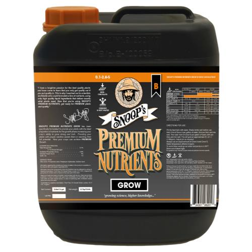 Snoop's Premium Nutrients Grow B Non-Circulating 5 Liter (Soil and Hydro Run To Waste)