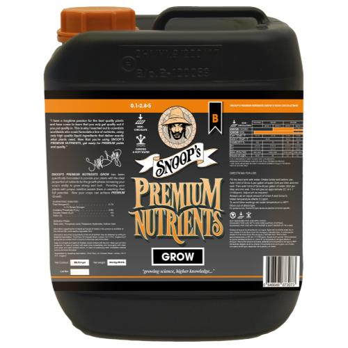 Snoop's Premium Nutrients Grow B Non-Circulating 20 Liter (Soil and Hydro Run To Waste)
