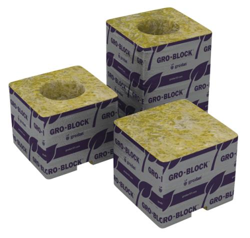 Grodan Delta 4 Block 3 in x 3 in x 2.5 in w/ Hole (Case of 48)