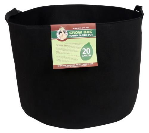 Gro Pro Premium Round Fabric Pot w/ Handles 20 Gallon - Black