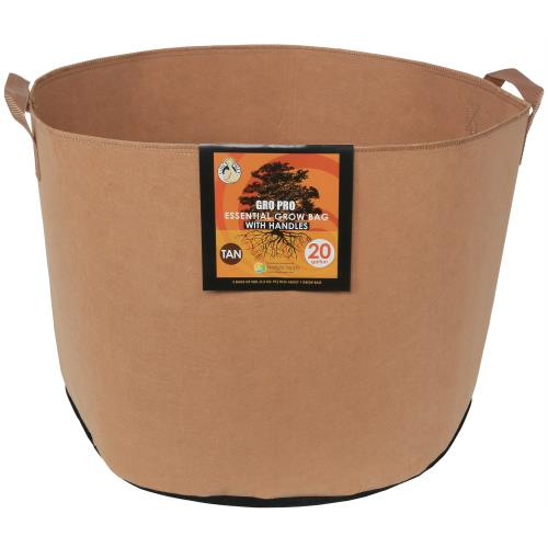 Gro Pro Essential Round Fabric Pot w/ Handles 20 Gallon - Tan