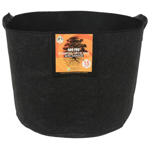 Gro Pro Essential Round Fabric Pot w/ Handles 15 Gallon - Black