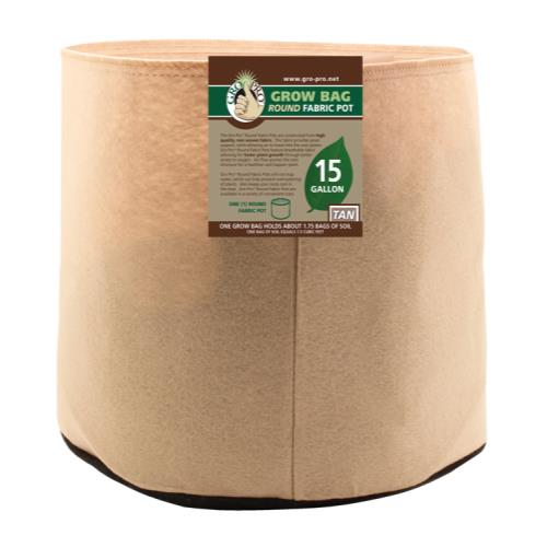 Gro Pro 15 Gallon Round Grow Bag-Tan