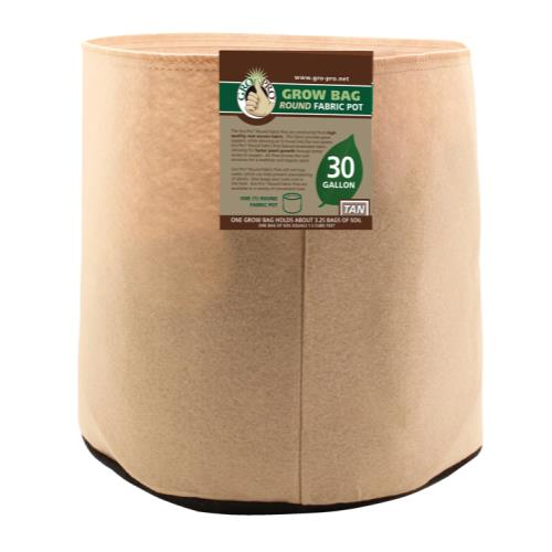 Gro Pro 30 Gallon Round Grow Bag-Tan