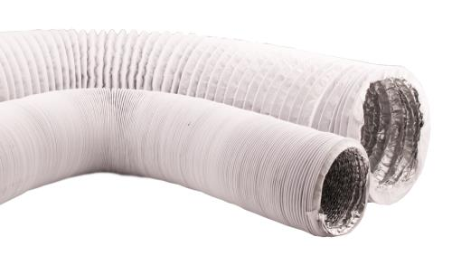 Ideal-Air White/Silver Vinyl Light Tight Flex Ducting 6 in x 25 ft