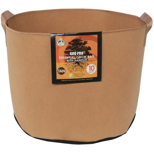 Gro Pro Essential Round Fabric Pot w/ Handles 10 Gallon - Tan   200/Case