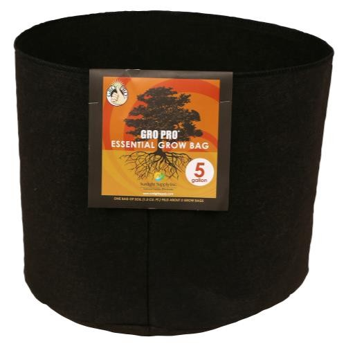 Gro Pro Essential Round Fabric Pot - Black 5 Gallon   1000/Case