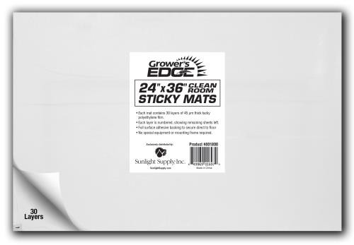 Grower's Edge Cleanroom Sticky Mat 24 in x 36 in   (Case of 10)